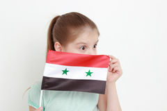 Kid and Syria flag Stock Images