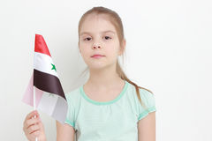 Kid and Syria flag Stock Photography