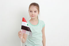 Kid and Syria flag Royalty Free Stock Images