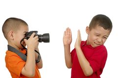 Kid taking a picture Stock Photo