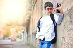 Kid taking a selfie Royalty Free Stock Photo