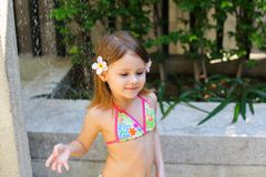 Free Kid Taking Shower, Drops Of Water Fall On Little Girl In Swimsui Stock Photos - 112241323