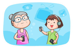 Kid talk to grandma talk about gadget  Royalty Free Stock Photo