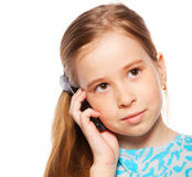 Kid, talking on the phone Royalty Free Stock Image