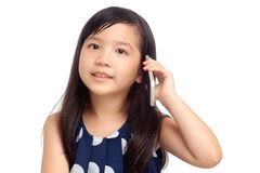 Kid talking on smartphone. Kid talking on mobile phone on white background stock images