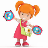 Kid with Tambourine Stock Images