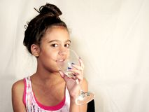 Kid teen drinking water Royalty Free Stock Images