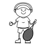 kid tennis sport player icon Stock Photo