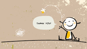 Kid thank you. Thank you card with happy girl holding a flower, saying thank you in a speech balloon. Cartoon sketch, doodle, vector illustration royalty free illustration
