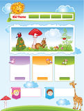 Kid theme for web template. Cartoon Kid theme with funny illustrations for web template Royalty Free Stock Photography