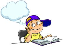 Kid Thinking with a book. Cartoon illustration of a thinking  schoolboy Royalty Free Stock Images