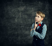 Kid Thinking Over School Blackboard, Child Boy Think Education stock photos