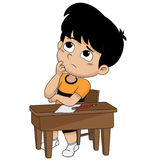 Kid thinking about sentences.vector and illustration. Royalty Free Stock Photography