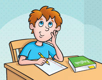 Kid Thinking What To Write vector illustration