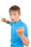 Kid threaten with a Fist Royalty Free Stock Photos
