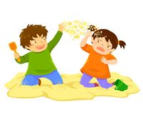 Kid Throwing Sand. Naughty boy throwing sand at a little girl in the sandbox stock illustration