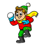Kid throwing snowball. Vector cartoon Stock Image