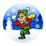 Kid throwing snowball Royalty Free Stock Photo