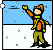Kid throwing a snowball vector illustration Stock Photos