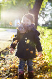 Kid throws yellow leaves in autumn park. Golden Autumn Stock Image