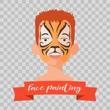 Kid with tiger face painting vector illustrations. On transparent background. Child face with animal makeup painted for kids party Stock Image
