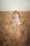 Kid toddler on wheat field at sunset, lifestyle Royalty Free Stock Images