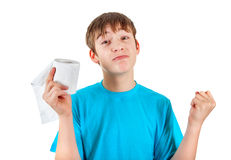 Kid with Toilet Paper Stock Image
