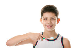Kid with toothbrush Stock Images