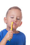 Kid with toothbrush Royalty Free Stock Images