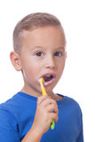 Kid with toothbrush. Charming kid with toothbrush on  white Royalty Free Stock Image