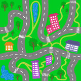 Kid town map - seamless vector city pattern for children. Royalty Free Stock Photos