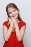 Kid and toy bear Royalty Free Stock Photos