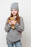 Kid and toy bear Stock Photo