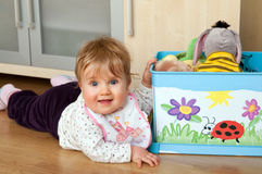 Kid with toy box Royalty Free Stock Photo