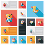 Kid toy flat ui background set Stock Photo