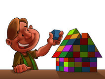 Kid with toy house. An illustration of a little boy building a toy house with blocks Royalty Free Stock Images