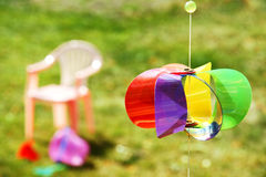 Kid toys in the backyard Royalty Free Stock Photo