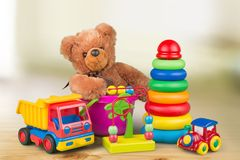 Kid toys. Child collection plastic white car object royalty free stock images