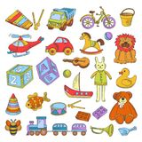 Kid toys or children playthings vector flat icons collection. Kid toys and children playthings collection for kindergarten girls and boys. Vector isolated icons Royalty Free Stock Photo
