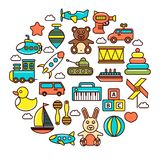 Kid toys or children playthings vector icons poster Royalty Free Stock Photos