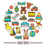 Kid toys or children playthings vector poster Royalty Free Stock Image