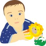 Kid with toys in hands Royalty Free Stock Image