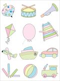 Kid toys icon set Royalty Free Stock Images