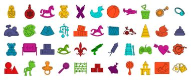 Kid toys icon set, color outline style. Kid toys icon set. Color outline set of kid toys vector icons for web design isolated on white background Stock Image