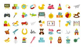 Kid toys icon set, flat style. Kid toys icon set. Flat set of kid toys vector icons for web design isolated on white background Royalty Free Stock Image