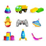 Kid Toys Icons Set Stock Photo