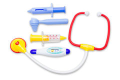 Kid toys medical equipment tool set. Isolated royalty free stock photo