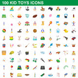 100 kid toys set, cartoon style Royalty Free Stock Photography