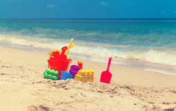 Kid toys on tropical sand beach Royalty Free Stock Photography