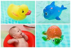 Kid and toys in water Royalty Free Stock Photography